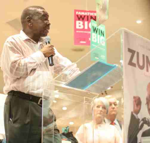 Head of South African communist party speaks at Zuma book launch in Hyde Park shopping center Joburg Dec 08